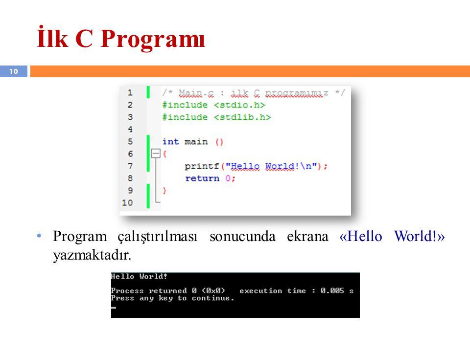 Program çalıştırılması sonucunda ekrana «Hello World!» yazmaktadır. İlk C Programı 10