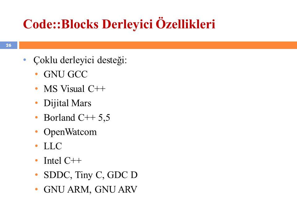 26 Code::Blocks Derleyici Özellikleri Çoklu derleyici desteği: GNU GCC MS Visual C++ Dijital Mars Borland C++ 5,5 OpenWatcom LLC Intel C++ SDDC, Tiny