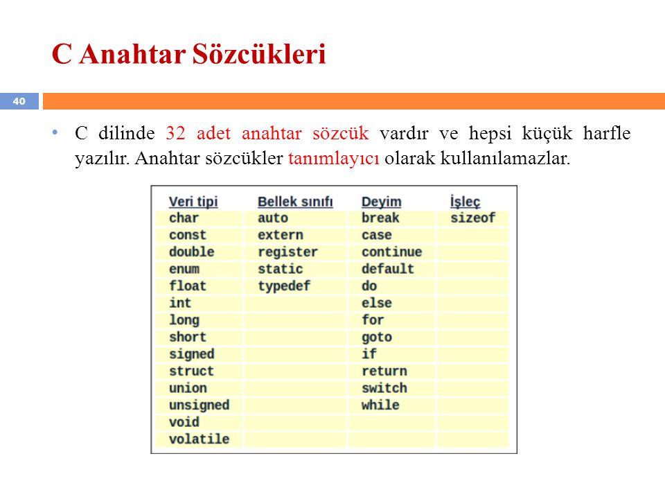40 C Anahtar Sözcükleri C dilinde 32 adet anahtar sözcük vardır ve hepsi küçük harfle yazılır. Anahtar sözcükler tanımlayıcı olarak kullanılamazlar.