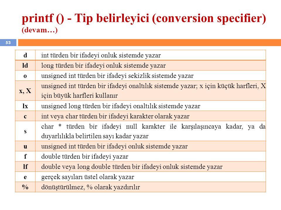 53 printf () - Tip belirleyici (conversion specifier) (devam…) dint türden bir ifadeyi onluk sistemde yazar ldlong türden bir ifadeyi onluk sistemde y