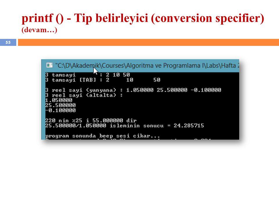 55 printf () - Tip belirleyici (conversion specifier) (devam…)
