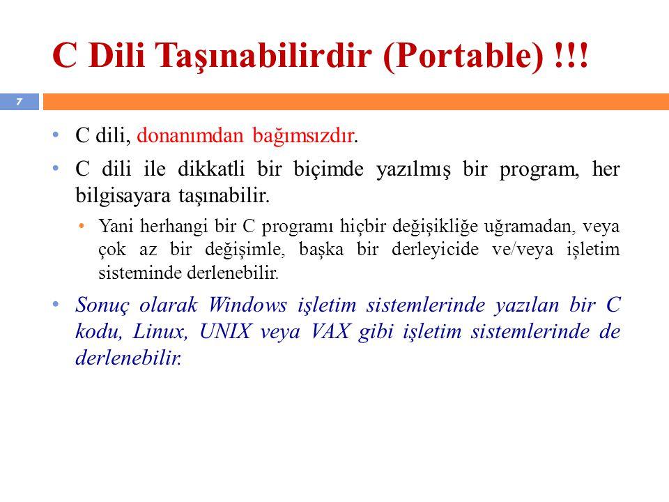 38 C Programlama Dili Elemanları 1.Tanımlayıcılar 2.Anahtar Sözcükler 3.Veri Türleri 4.Değişkenler 5.Sabitler 6.Operatörler
