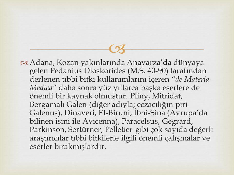   Adana, Kozan yakınlarında Anavarza'da dünyaya gelen Pedanius Dioskorides (M.S.