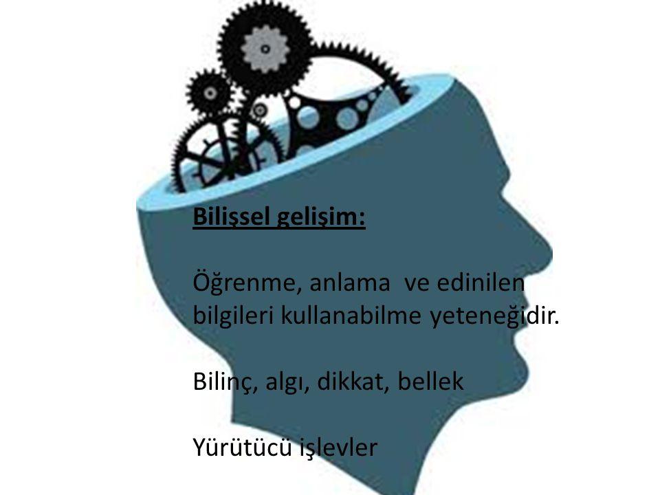 Bilişsel gelişim: Öğrenme, anlama ve edinilen bilgileri kullanabilme yeteneğidir. Bilinç, algı, dikkat, bellek Yürütücü işlevler