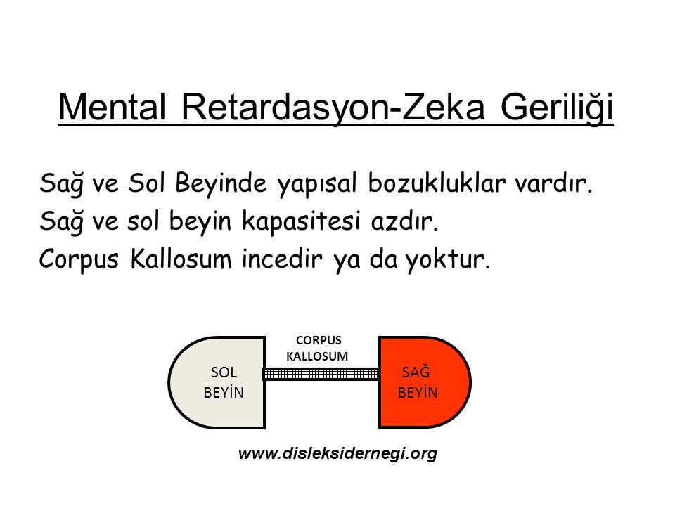 Mental Retardasyon-Zeka Geriliği Sağ ve Sol Beyinde yapısal bozukluklar vardır. Sağ ve sol beyin kapasitesi azdır. Corpus Kallosum incedir ya da yoktu
