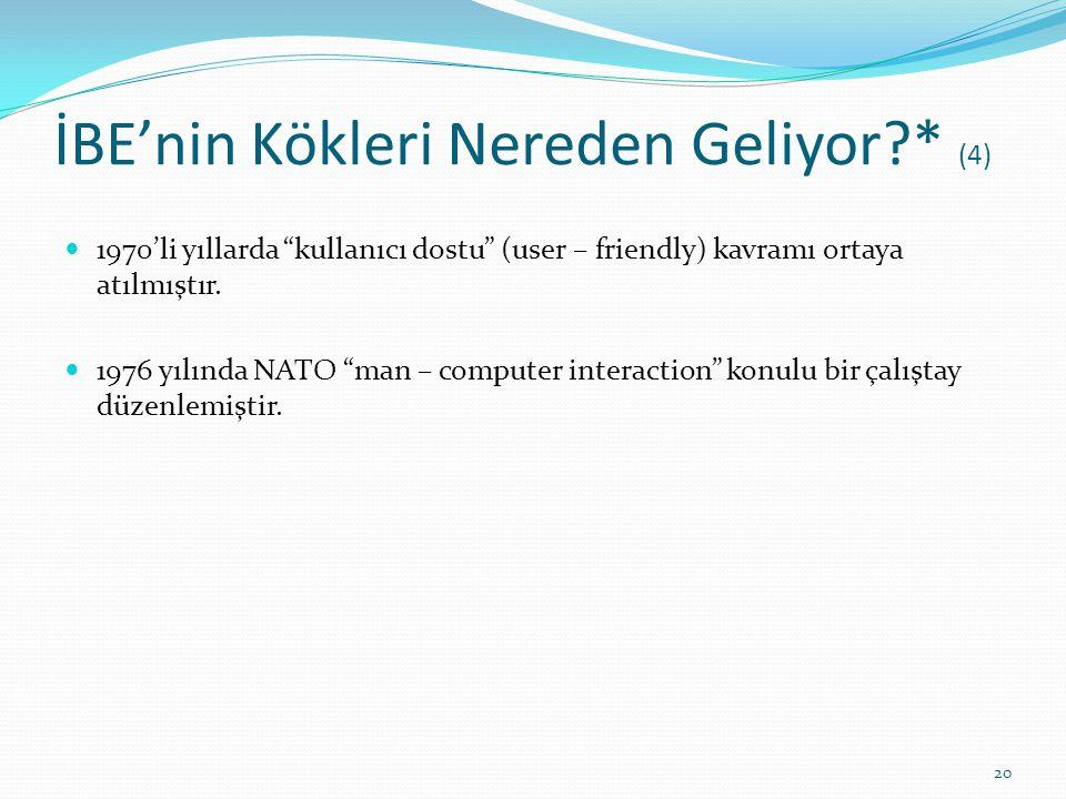 """İBE'nin Kökleri Nereden Geliyor?* (4) 1970'li yıllarda """"kullanıcı dostu"""" (user – friendly) kavramı ortaya atılmıştır. 1976 yılında NATO """"man – compute"""
