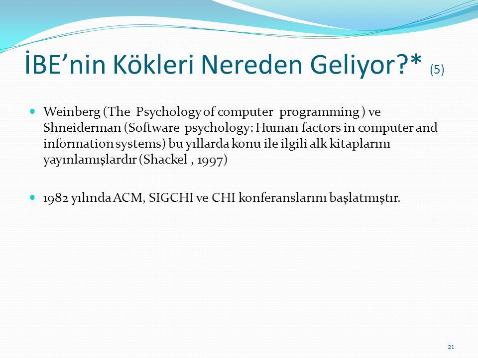 İBE'nin Kökleri Nereden Geliyor?* (5) Weinberg (The Psychology of computer programming ) ve Shneiderman (Software psychology: Human factors in compute