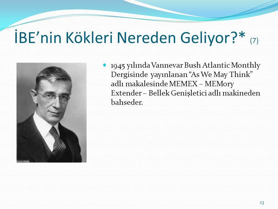"""İBE'nin Kökleri Nereden Geliyor?* (7) 1945 yılında Vannevar Bush Atlantic Monthly Dergisinde yayınlanan """"As We May Think"""" adlı makalesinde MEMEX – MEM"""