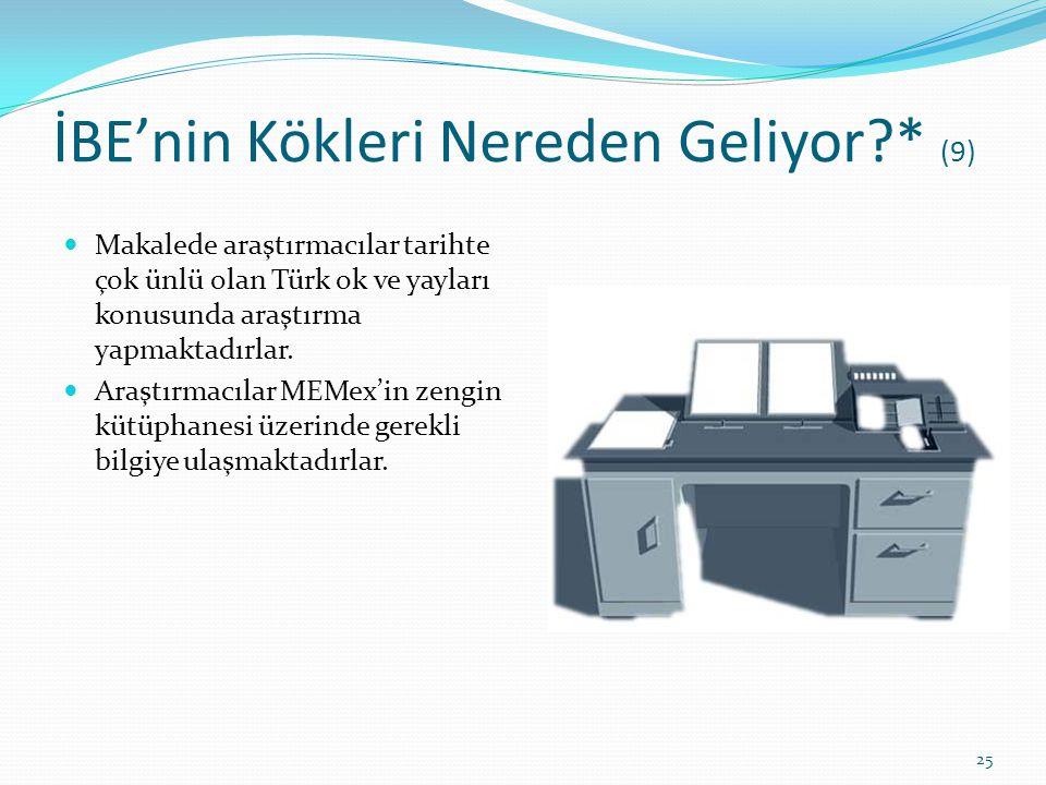 İBE'nin Kökleri Nereden Geliyor?* (9) Makalede araştırmacılar tarihte çok ünlü olan Türk ok ve yayları konusunda araştırma yapmaktadırlar. Araştırmacı