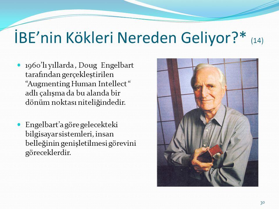"""İBE'nin Kökleri Nereden Geliyor?* (14) 1960'lı yıllarda, Doug Engelbart tarafından gerçekleştirilen """"Augmenting Human Intellect """" adlı çalışma da bu a"""