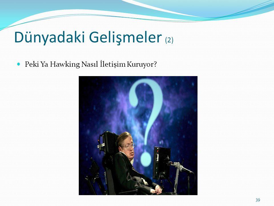 Dünyadaki Gelişmeler (2) Peki Ya Hawking Nasıl İletişim Kuruyor? 39