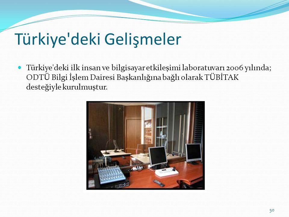 Türkiye'deki Gelişmeler Türkiye'deki ilk insan ve bilgisayar etkileşimi laboratuvarı 2006 yılında; ODTÜ Bilgi İşlem Dairesi Başkanlığına bağlı olarak