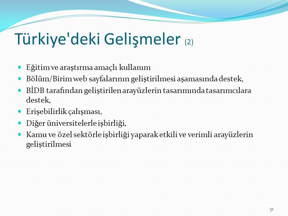 Türkiye'deki Gelişmeler (2) Eğitim ve araştırma amaçlı kullanım Bölüm/Birim web sayfalarının geliştirilmesi aşamasında destek, BİDB tarafından gelişti