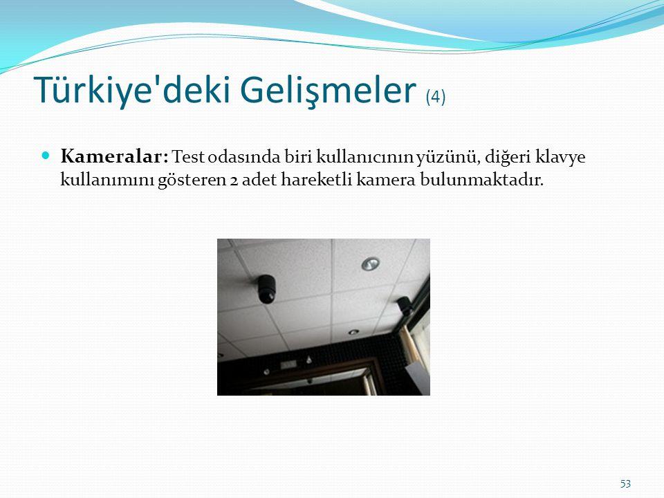 Türkiye'deki Gelişmeler (4) Kameralar: Test odasında biri kullanıcının yüzünü, diğeri klavye kullanımını gösteren 2 adet hareketli kamera bulunmaktadı