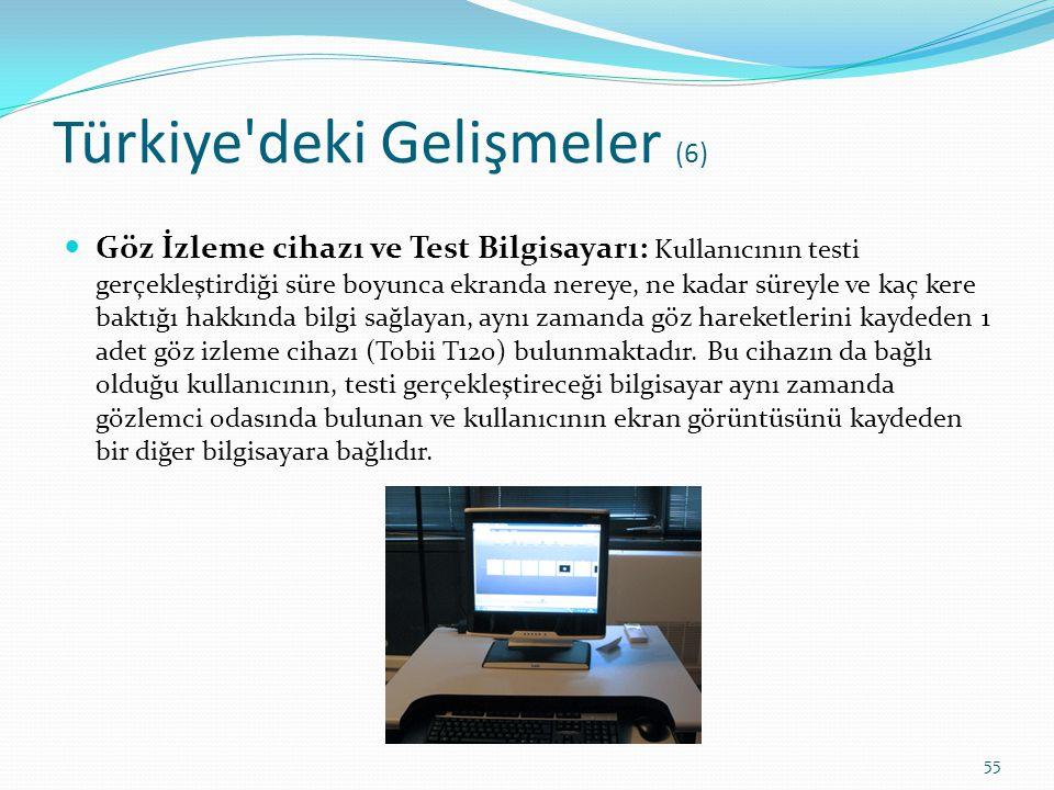 Türkiye'deki Gelişmeler (6) Göz İzleme cihazı ve Test Bilgisayarı: Kullanıcının testi gerçekleştirdiği süre boyunca ekranda nereye, ne kadar süreyle v