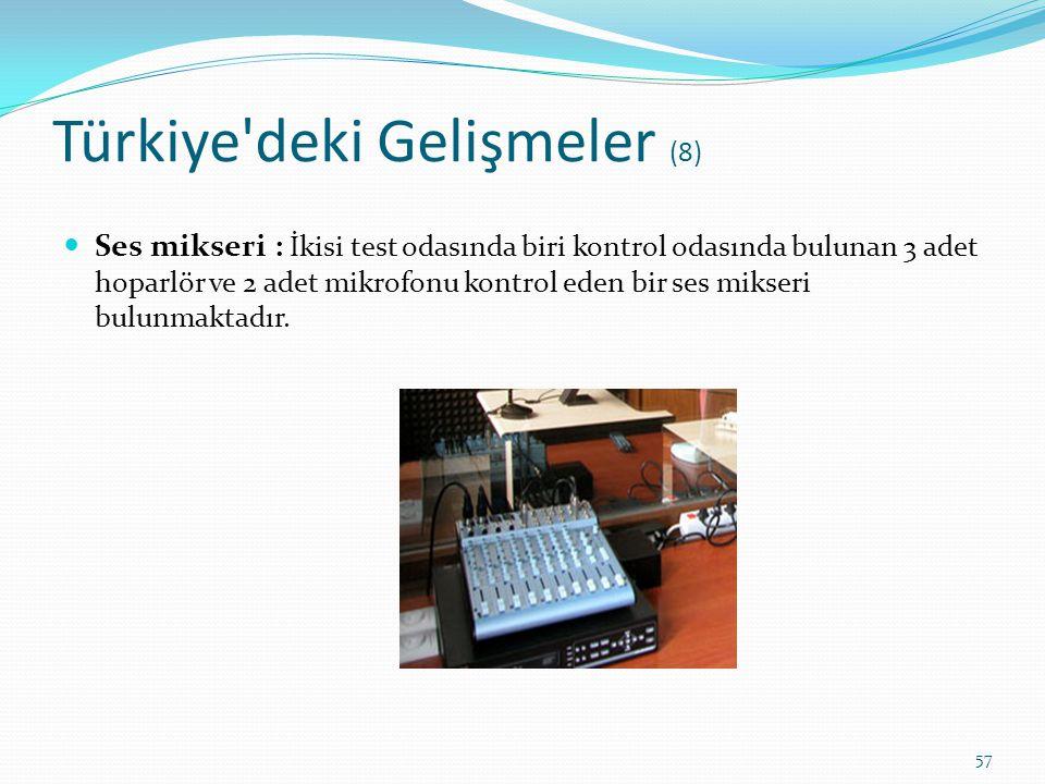 Türkiye'deki Gelişmeler (8) Ses mikseri : İkisi test odasında biri kontrol odasında bulunan 3 adet hoparlör ve 2 adet mikrofonu kontrol eden bir ses m