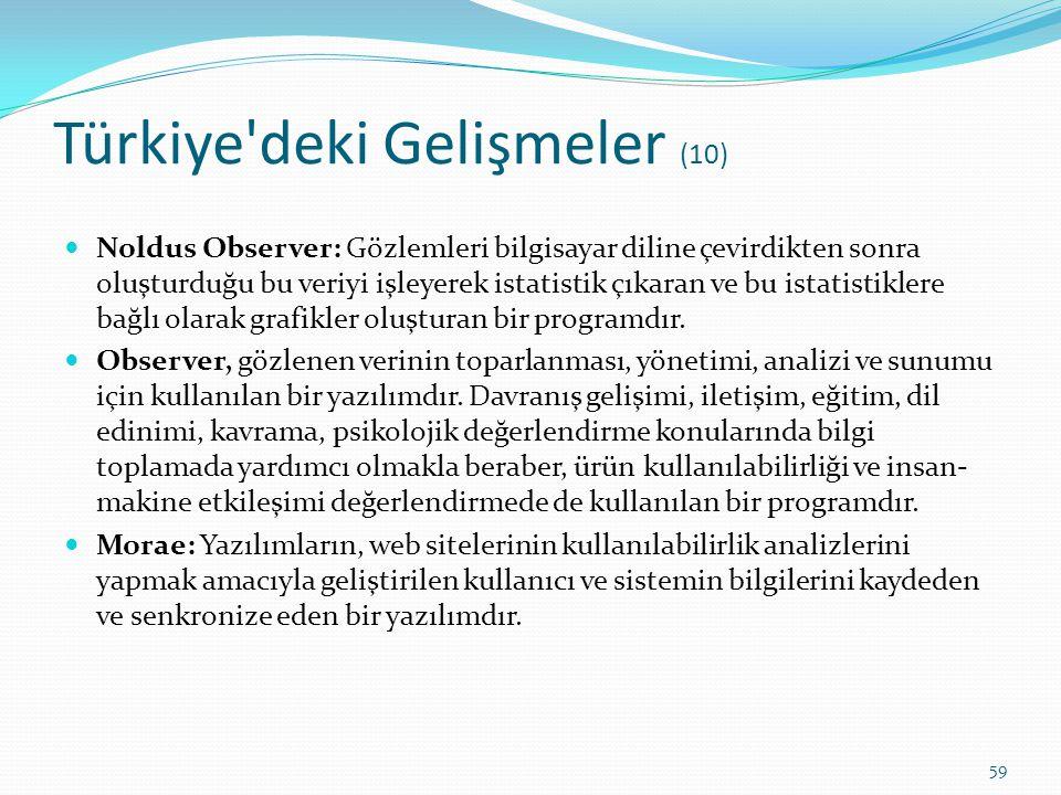 Türkiye'deki Gelişmeler (10) Noldus Observer: Gözlemleri bilgisayar diline çevirdikten sonra oluşturduğu bu veriyi işleyerek istatistik çıkaran ve bu
