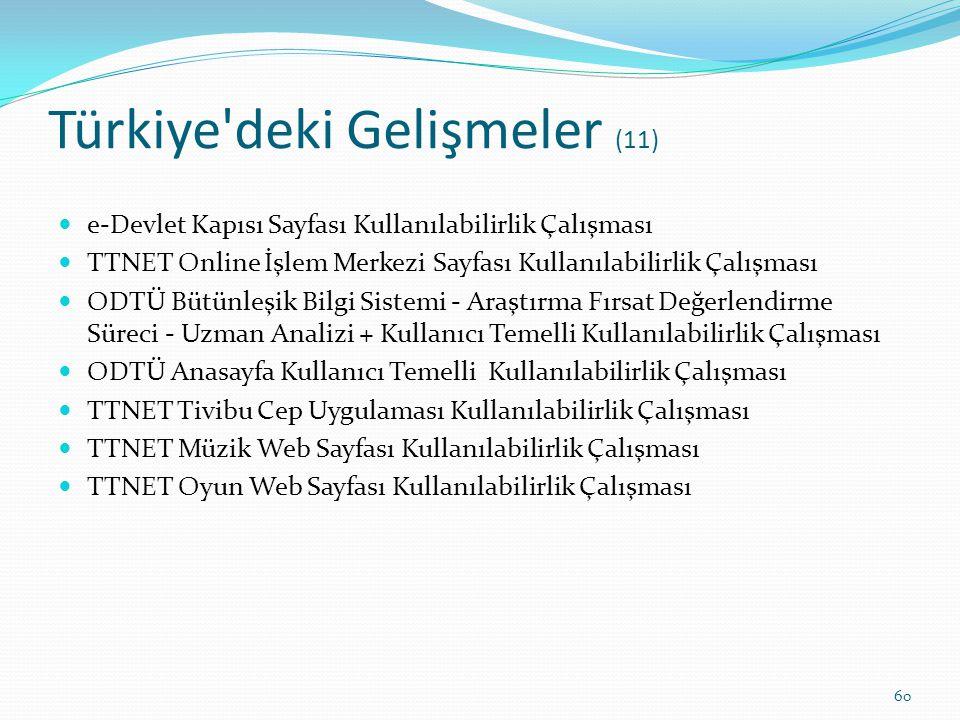 Türkiye'deki Gelişmeler (11) e-Devlet Kapısı Sayfası Kullanılabilirlik Çalışması TTNET Online İşlem Merkezi Sayfası Kullanılabilirlik Çalışması ODTÜ B