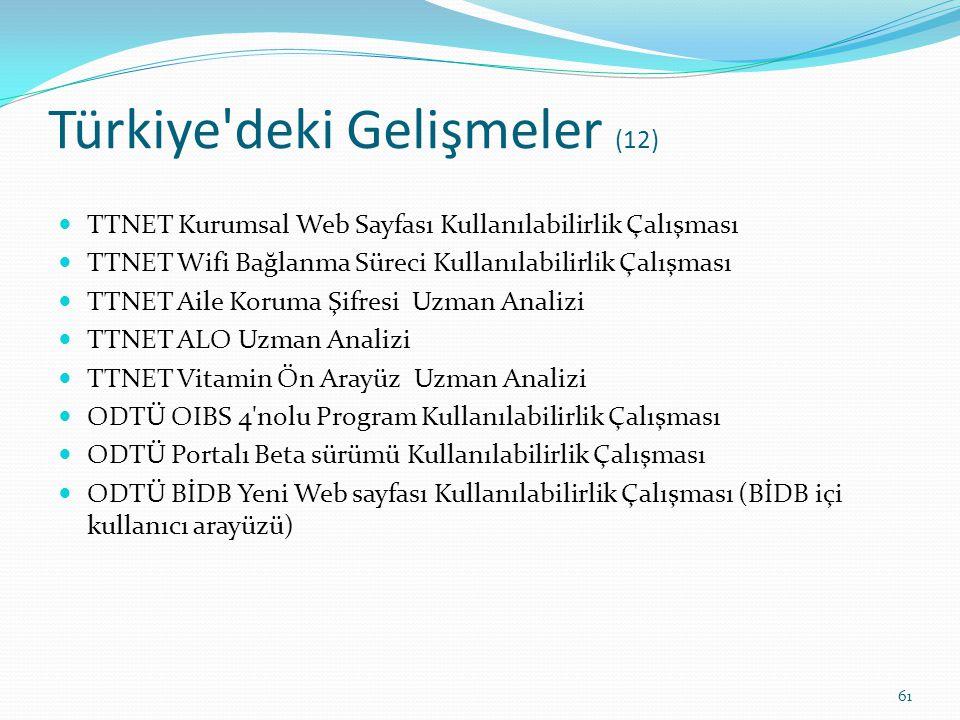 Türkiye'deki Gelişmeler (12) TTNET Kurumsal Web Sayfası Kullanılabilirlik Çalışması TTNET Wifi Bağlanma Süreci Kullanılabilirlik Çalışması TTNET Aile