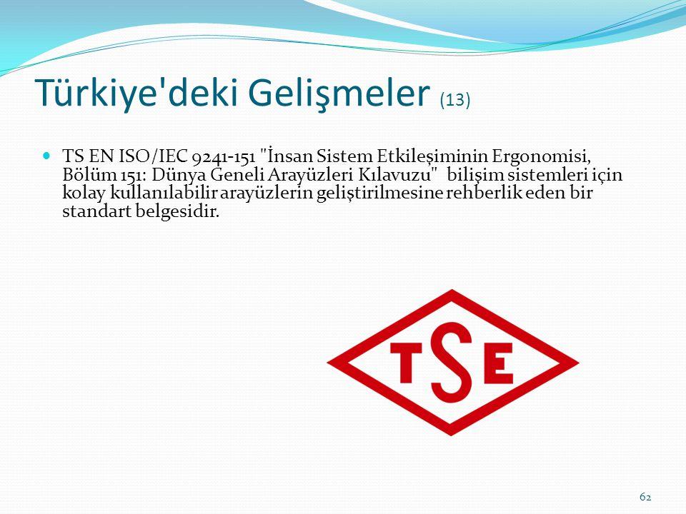 Türkiye'deki Gelişmeler (13) TS EN ISO/IEC 9241-151