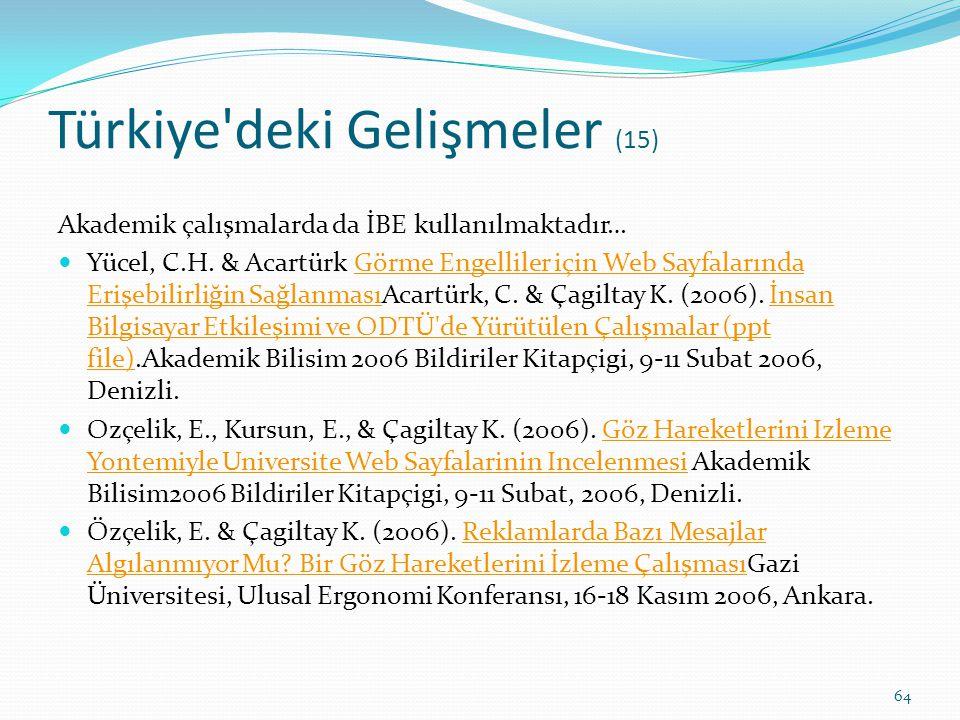 Türkiye'deki Gelişmeler (15) Akademik çalışmalarda da İBE kullanılmaktadır… Yücel, C.H. & Acartürk Görme Engelliler için Web Sayfalarında Erişebilirli