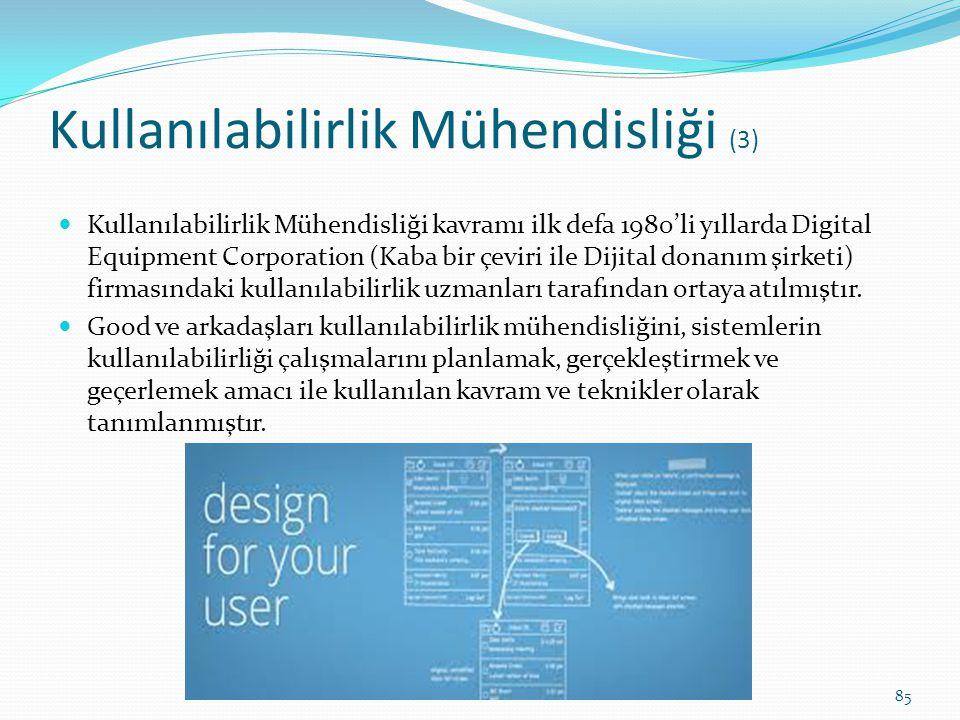 Kullanılabilirlik Mühendisliği (3) Kullanılabilirlik Mühendisliği kavramı ilk defa 1980'li yıllarda Digital Equipment Corporation (Kaba bir çeviri ile