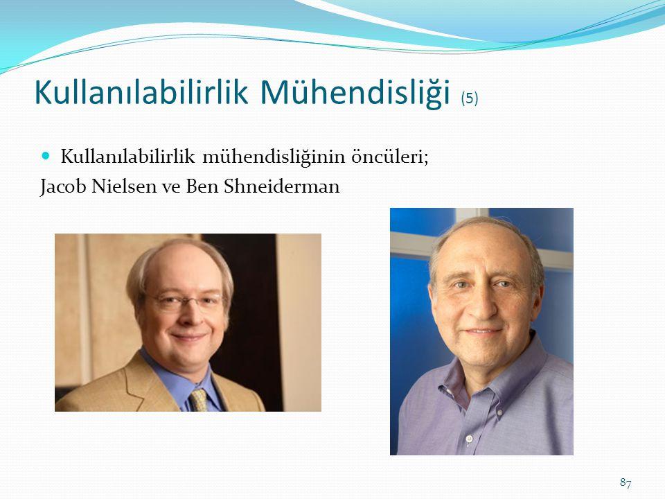 Kullanılabilirlik Mühendisliği (5) Kullanılabilirlik mühendisliğinin öncüleri; Jacob Nielsen ve Ben Shneiderman 87