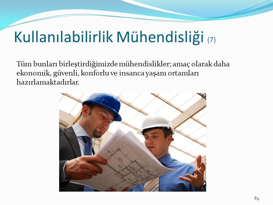 Kullanılabilirlik Mühendisliği (7) Tüm bunları birleştirdiğimizde mühendislikler; amaç olarak daha ekonomik, güvenli, konforlu ve insanca yaşam ortaml