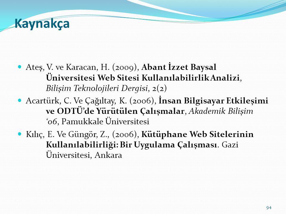 Kaynakça Ateş, V. ve Karacan, H. (2009), Abant İzzet Baysal Üniversitesi Web Sitesi Kullanılabilirlik Analizi, Bilişim Teknolojileri Dergisi, 2(2) Aca