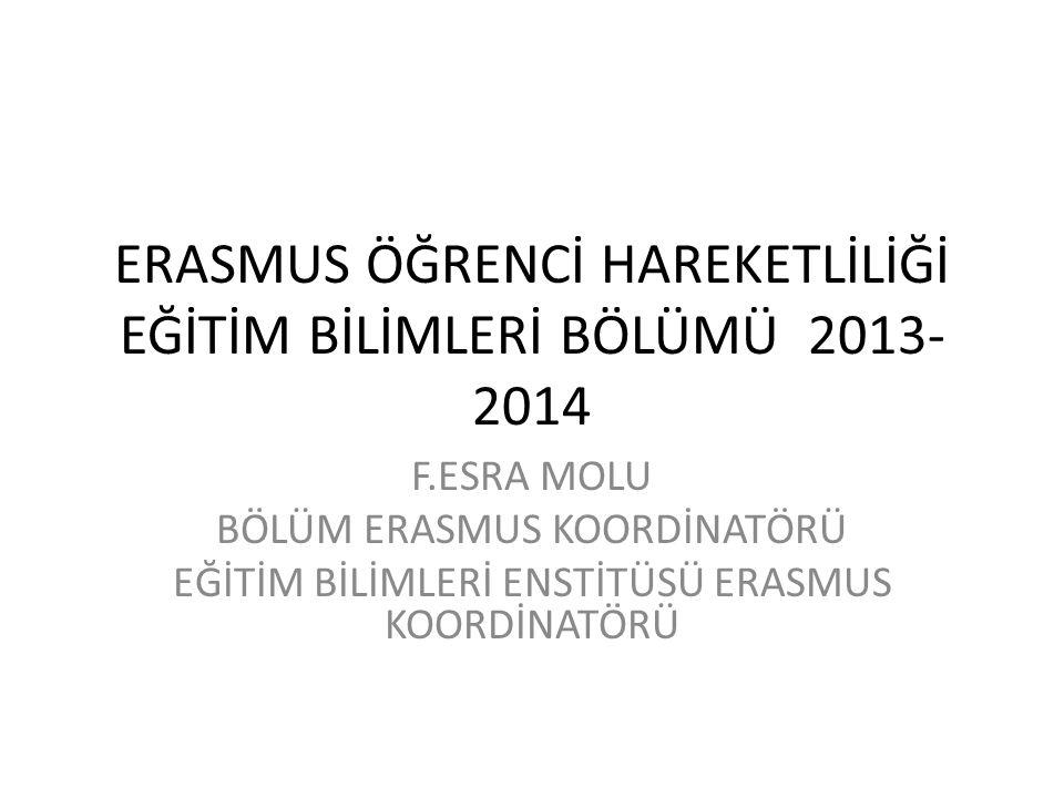 ERASMUS ÖĞRENCİ HAREKETLİLİĞİ EĞİTİM BİLİMLERİ BÖLÜMÜ 2013- 2014 F.ESRA MOLU BÖLÜM ERASMUS KOORDİNATÖRÜ EĞİTİM BİLİMLERİ ENSTİTÜSÜ ERASMUS KOORDİNATÖR