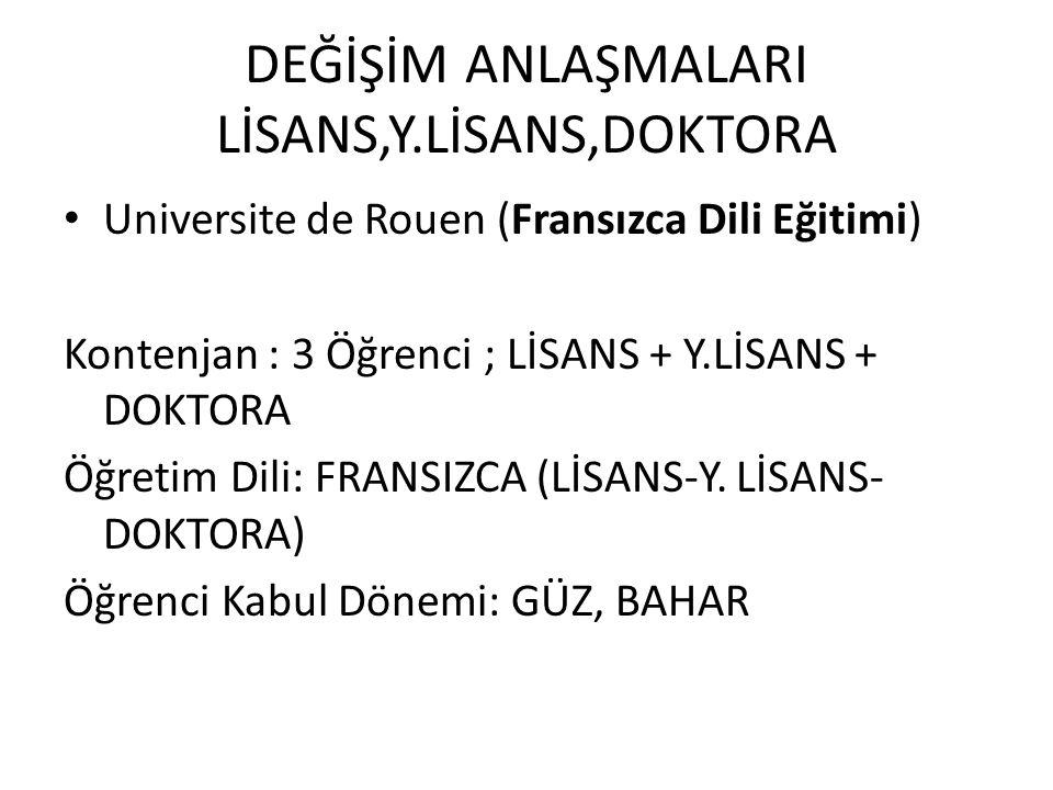 DEĞİŞİM ANLAŞMALARI LİSANS,Y.LİSANS,DOKTORA Universite de Rouen (Fransızca Dili Eğitimi) Kontenjan : 3 Öğrenci ; LİSANS + Y.LİSANS + DOKTORA Öğretim D