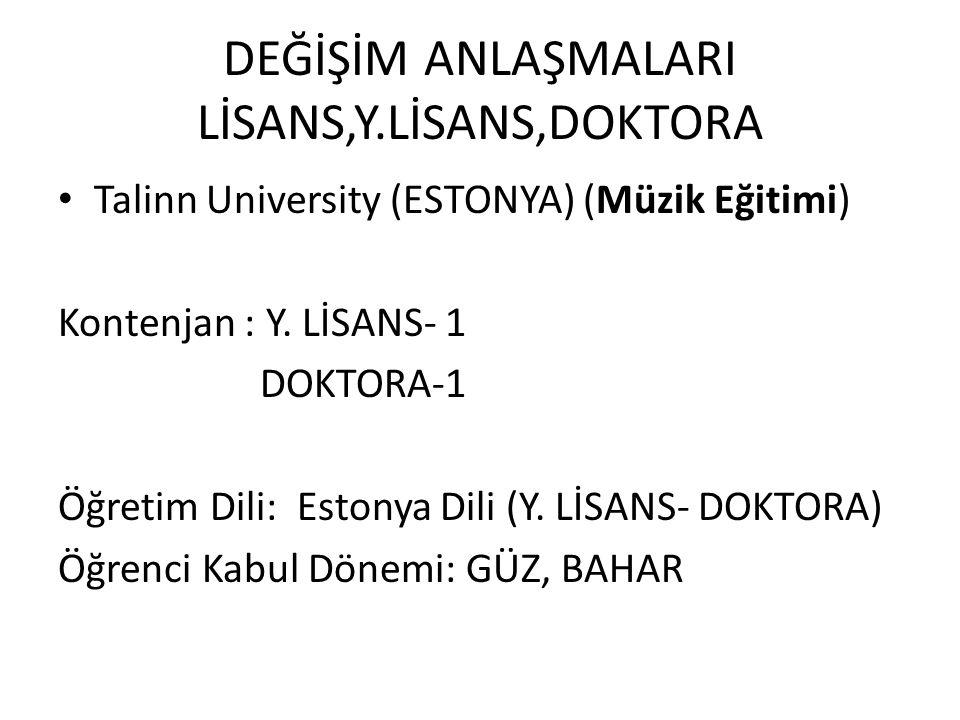 DEĞİŞİM ANLAŞMALARI LİSANS,Y.LİSANS,DOKTORA Talinn University (ESTONYA) (Müzik Eğitimi) Kontenjan : Y. LİSANS- 1 DOKTORA-1 Öğretim Dili: Estonya Dili
