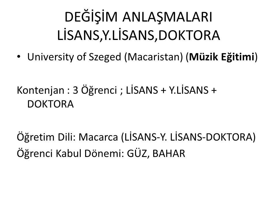 DEĞİŞİM ANLAŞMALARI LİSANS,Y.LİSANS,DOKTORA University of Szeged (Macaristan) (Müzik Eğitimi) Kontenjan : 3 Öğrenci ; LİSANS + Y.LİSANS + DOKTORA Öğre