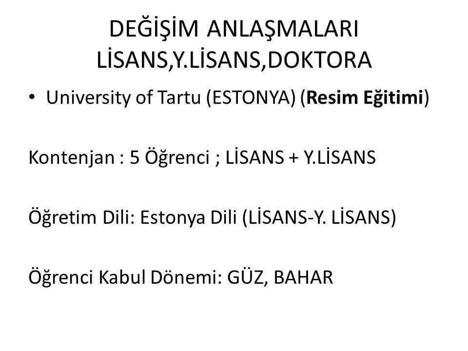 DEĞİŞİM ANLAŞMALARI LİSANS,Y.LİSANS,DOKTORA University of Tartu (ESTONYA) (Resim Eğitimi) Kontenjan : 5 Öğrenci ; LİSANS + Y.LİSANS Öğretim Dili: Esto