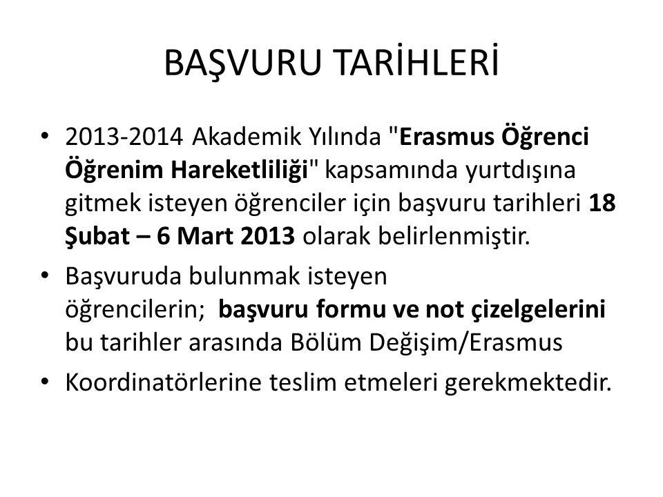 BAŞVURU TARİHLERİ 2013-2014 Akademik Yılında