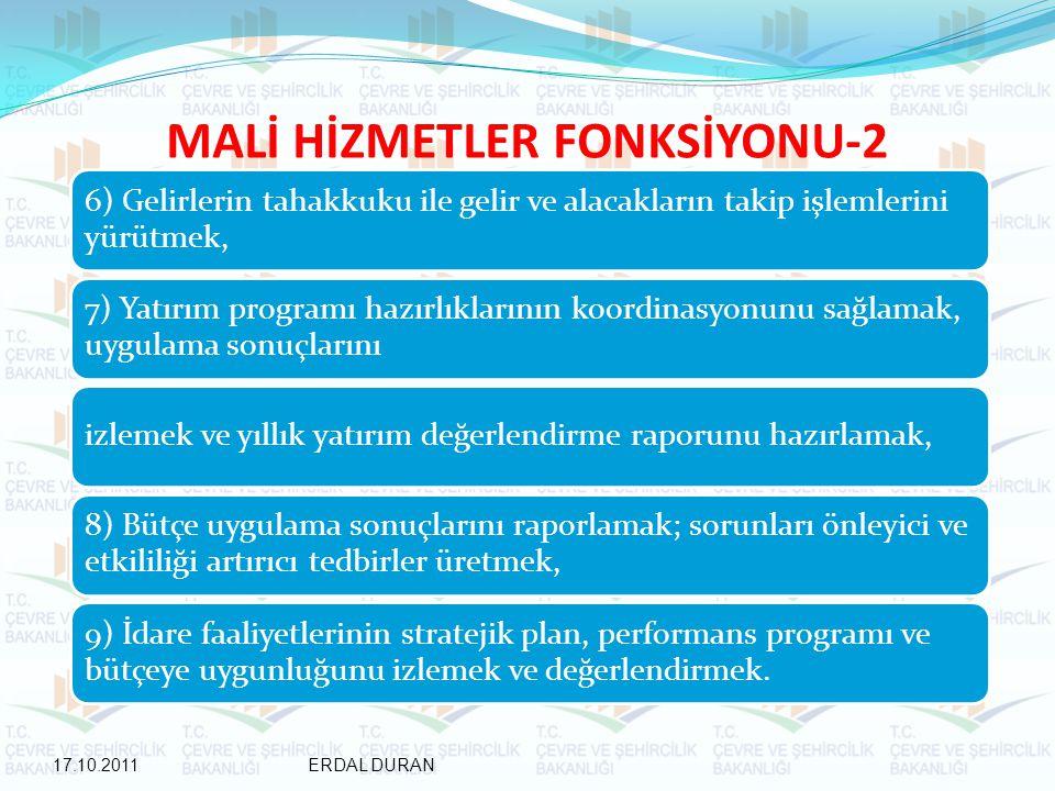 MALİ HİZMETLER FONKSİYONU-2 6) Gelirlerin tahakkuku ile gelir ve alacakların takip işlemlerini yürütmek, 7) Yatırım programı hazırlıklarının koordinasyonunu sağlamak, uygulama sonuçlarını izlemek ve yıllık yatırım değerlendirme raporunu hazırlamak, 8) Bütçe uygulama sonuçlarını raporlamak; sorunları önleyici ve etkililiği artırıcı tedbirler üretmek, 9) İdare faaliyetlerinin stratejik plan, performans programı ve bütçeye uygunluğunu izlemek ve değerlendirmek.