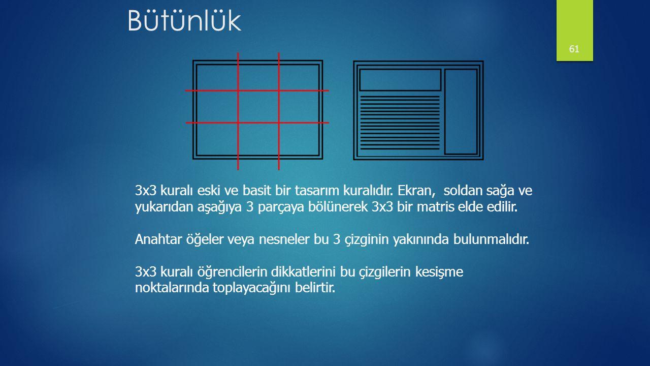 Bütünlük 61 3x3 kuralı eski ve basit bir tasarım kuralıdır. Ekran, soldan sağa ve yukarıdan aşağıya 3 parçaya bölünerek 3x3 bir matris elde edilir. An