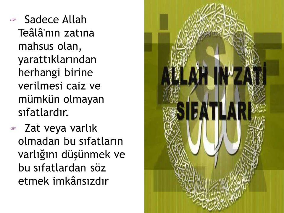  Sadece Allah Teâlâ'nın zatına mahsus olan, yarattıklarından herhangi birine verilmesi caiz ve mümkün olmayan sıfatlardır.  Zat veya varlık olmadan
