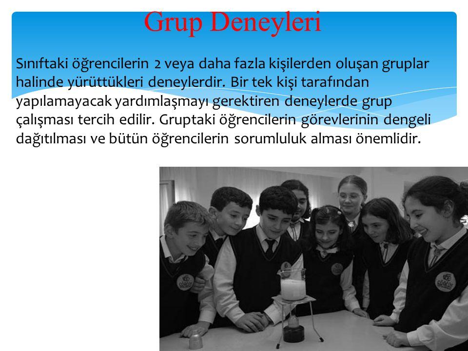 Grup Deneyleri Sınıftaki öğrencilerin 2 veya daha fazla kişilerden oluşan gruplar halinde yürüttükleri deneylerdir. Bir tek kişi tarafından yapılamaya