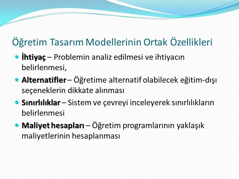 Öğretim Tasarım Modellerinin Ortak Özellikleri İhtiyaç İhtiyaç – Problemin analiz edilmesi ve ihtiyacın belirlenmesi, Alternatifler Alternatifler – Öğ