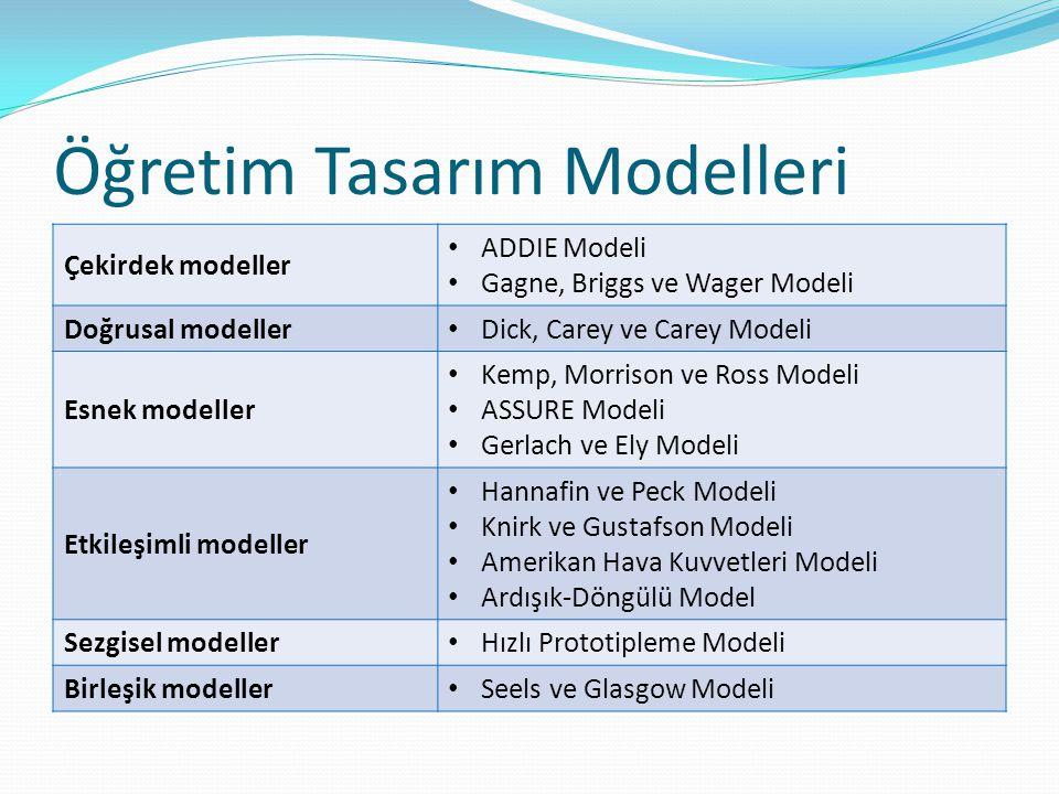 Öğretim Tasarım Modelleri Çekirdek modeller ADDIE Modeli Gagne, Briggs ve Wager Modeli Doğrusal modeller Dick, Carey ve Carey Modeli Esnek modeller Ke