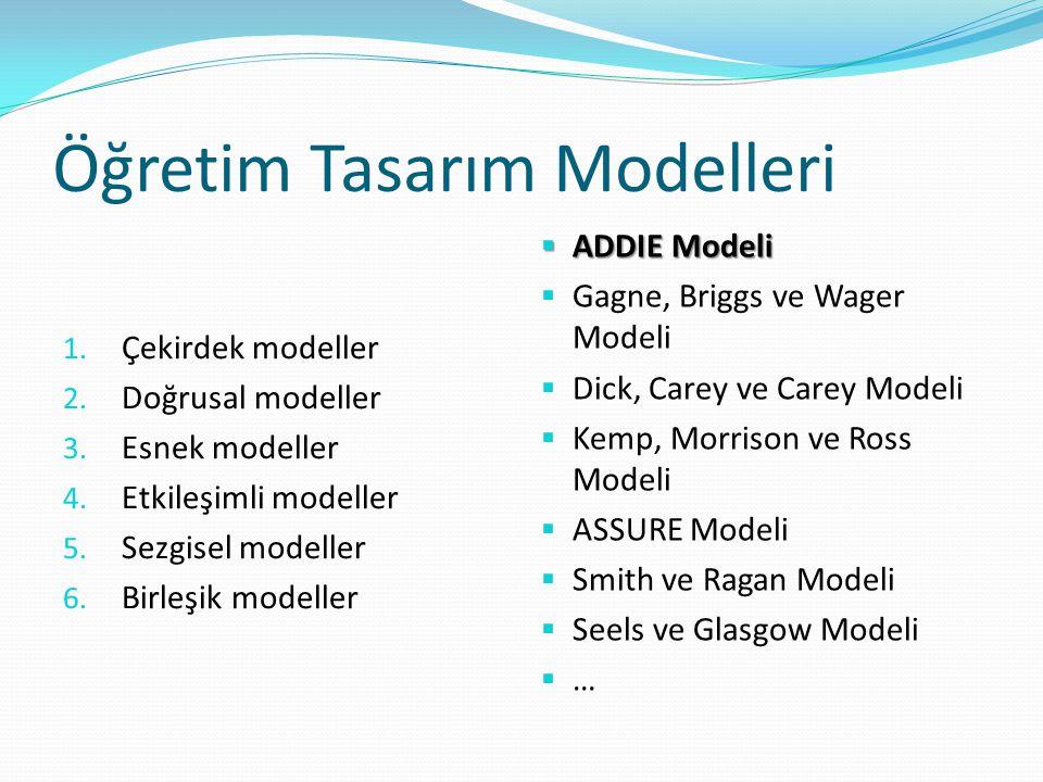 Öğretim Tasarım Modelleri 1. Çekirdek modeller 2. Doğrusal modeller 3. Esnek modeller 4. Etkileşimli modeller 5. Sezgisel modeller 6. Birleşik modelle