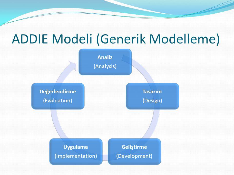 ADDIE Modeli (Generik Modelleme) Analiz (Analysis) Tasarım (Design) Geliştirme (Development) Uygulama (Implementation) Değerlendirme (Evaluation)