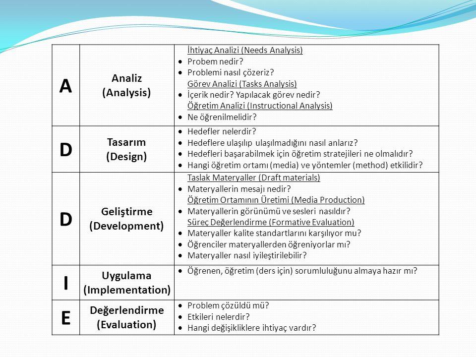 A Analiz (Analysis) İhtiyaç Analizi (Needs Analysis)  Probem nedir?  Problemi nasıl çözeriz? Görev Analizi (Tasks Analysis)  İçerik nedir? Yapılaca