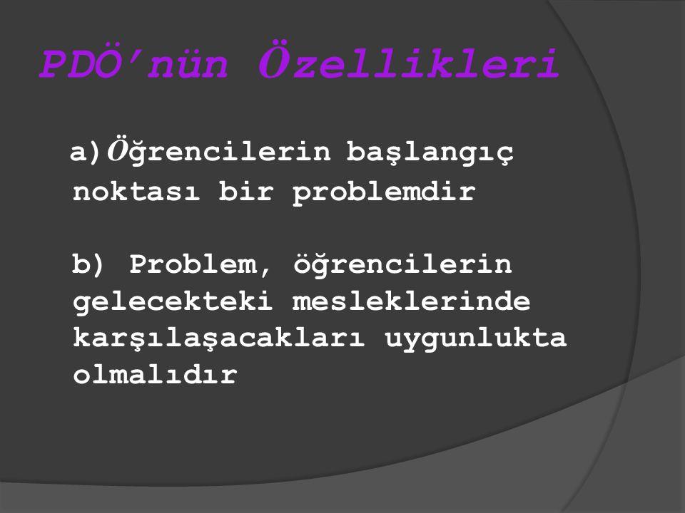 PDÖ'nün Ö zellikleri a) Ö ğrencilerin başlangıç noktası bir problemdir b) Problem, öğrencilerin gelecekteki mesleklerinde karşılaşacakları uygunlukta