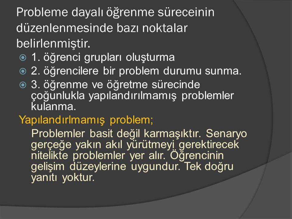 Probleme dayalı öğrenme süreceinin düzenlenmesinde bazı noktalar belirlenmiştir.  1. öğrenci grupları oluşturma  2. öğrencilere bir problem durumu s