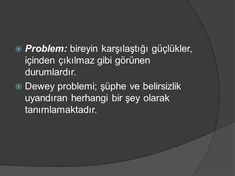  Problem: bireyin karşılaştığı güçlükler, içinden çıkılmaz gibi görünen durumlardır.  Dewey problemi; şüphe ve belirsizlik uyandıran herhangi bir şe