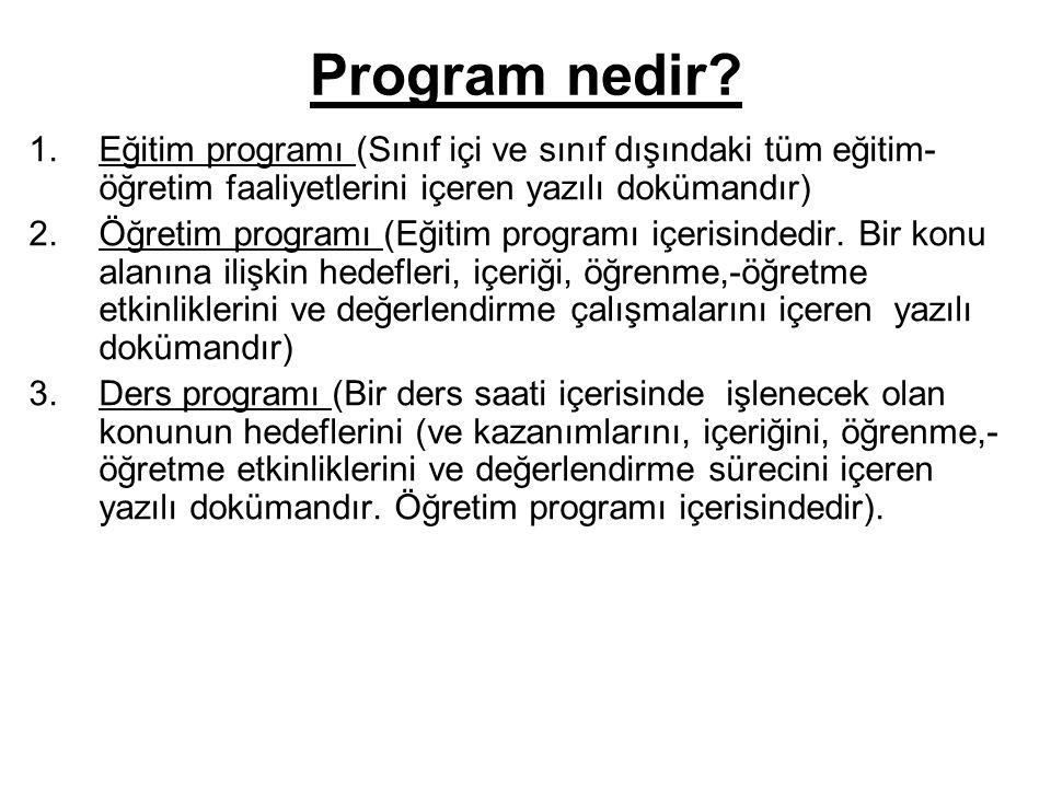 Program nedir? 1.Eğitim programı (Sınıf içi ve sınıf dışındaki tüm eğitim- öğretim faaliyetlerini içeren yazılı dokümandır) 2.Öğretim programı (Eğitim