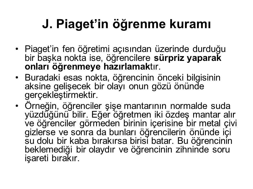J. Piaget'in öğrenme kuramı Piaget'in fen öğretimi açısından üzerinde durduğu bir başka nokta ise, öğrencilere sürpriz yaparak onları öğrenmeye hazırl