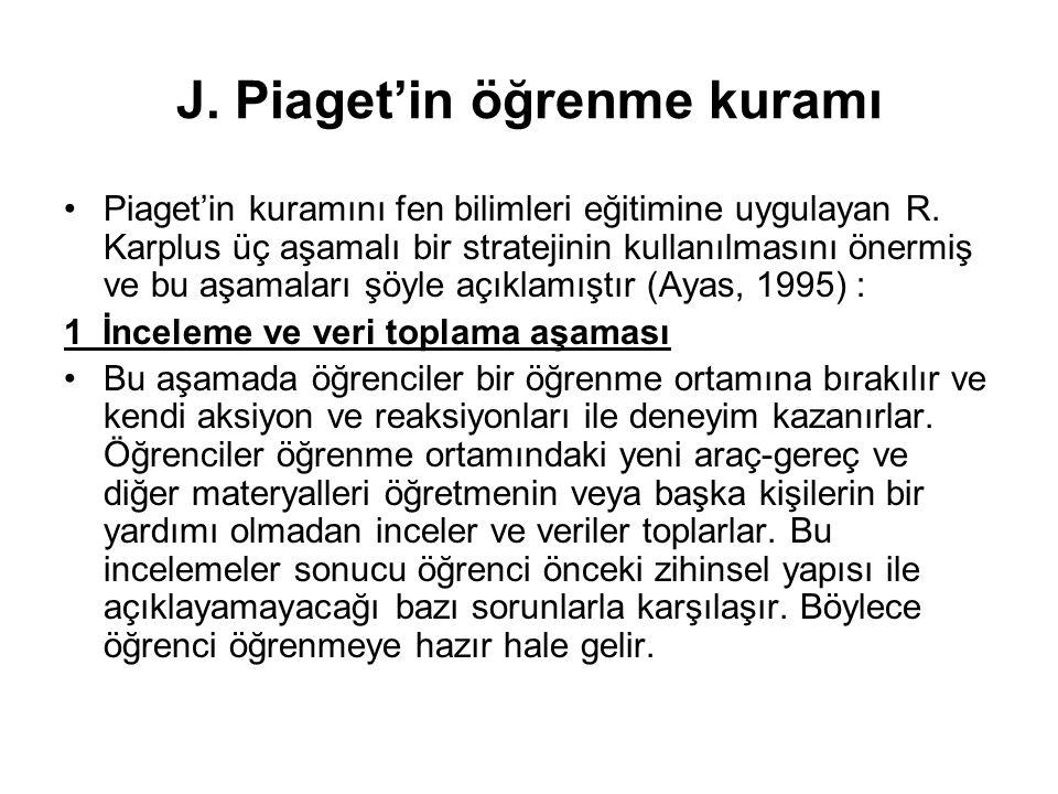 J. Piaget'in öğrenme kuramı Piaget'in kuramını fen bilimleri eğitimine uygulayan R. Karplus üç aşamalı bir stratejinin kullanılmasını önermiş ve bu aş